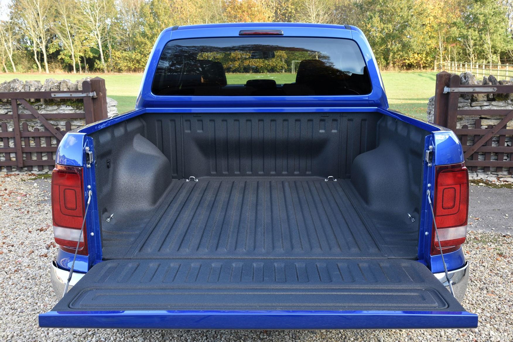 VW Amarok load area - dead-on rear view, tailgate down