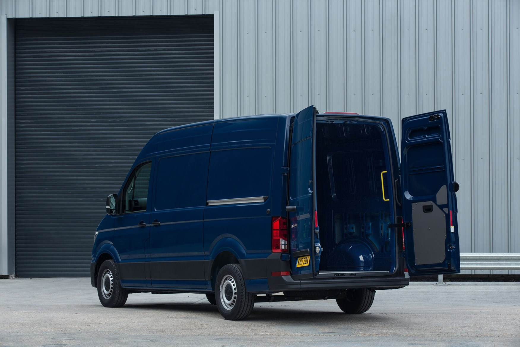 VW Crafter payload info, rear view, doors open, blue