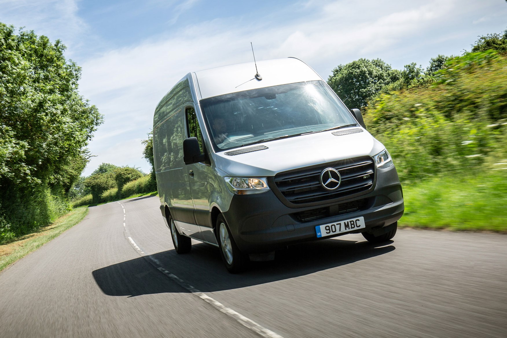 Mercedes Sprinter (2018-on), running costs, front view, silver, UK, driving on country lane