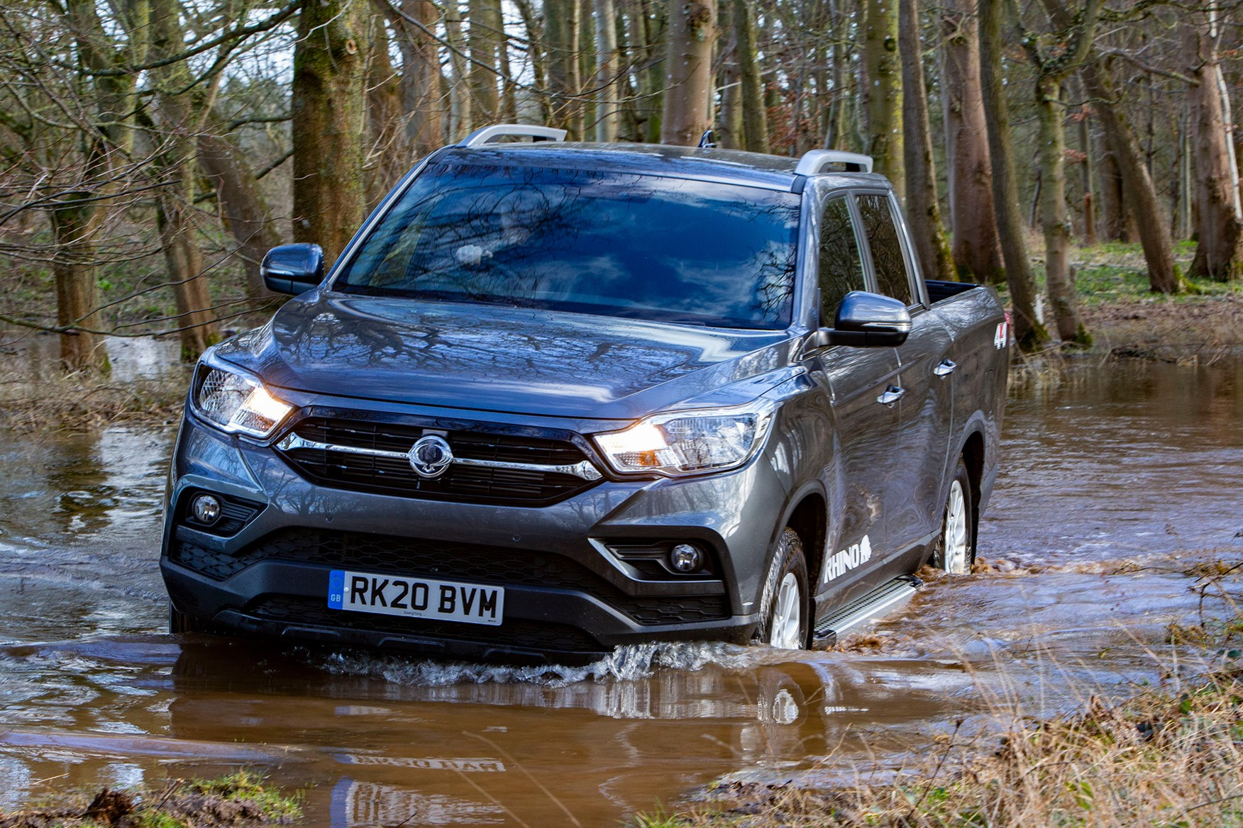 SsangYong Musso review, 2020, Rhino LWB, front view, driving through river