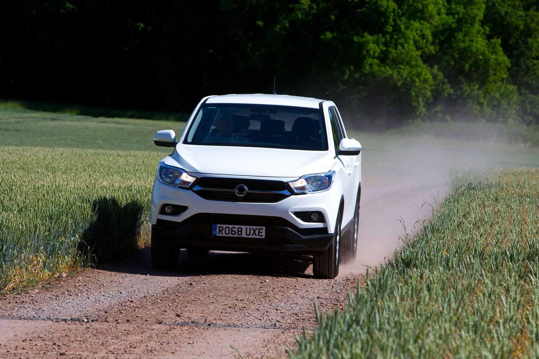 SsangYong Musso (2018-on) review, EX, front view, driving, white