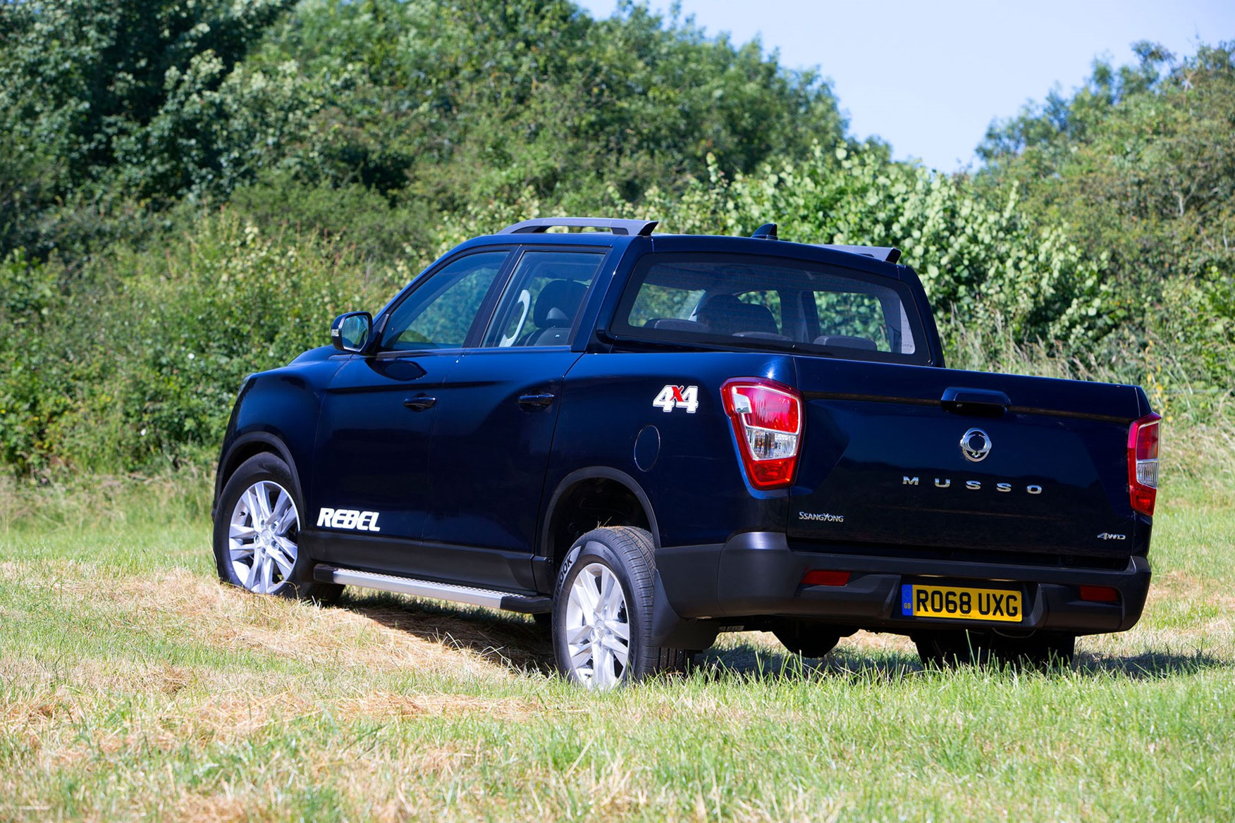 SsangYong Musso (2018-on) review, Rebel, rear view, off-road, blue