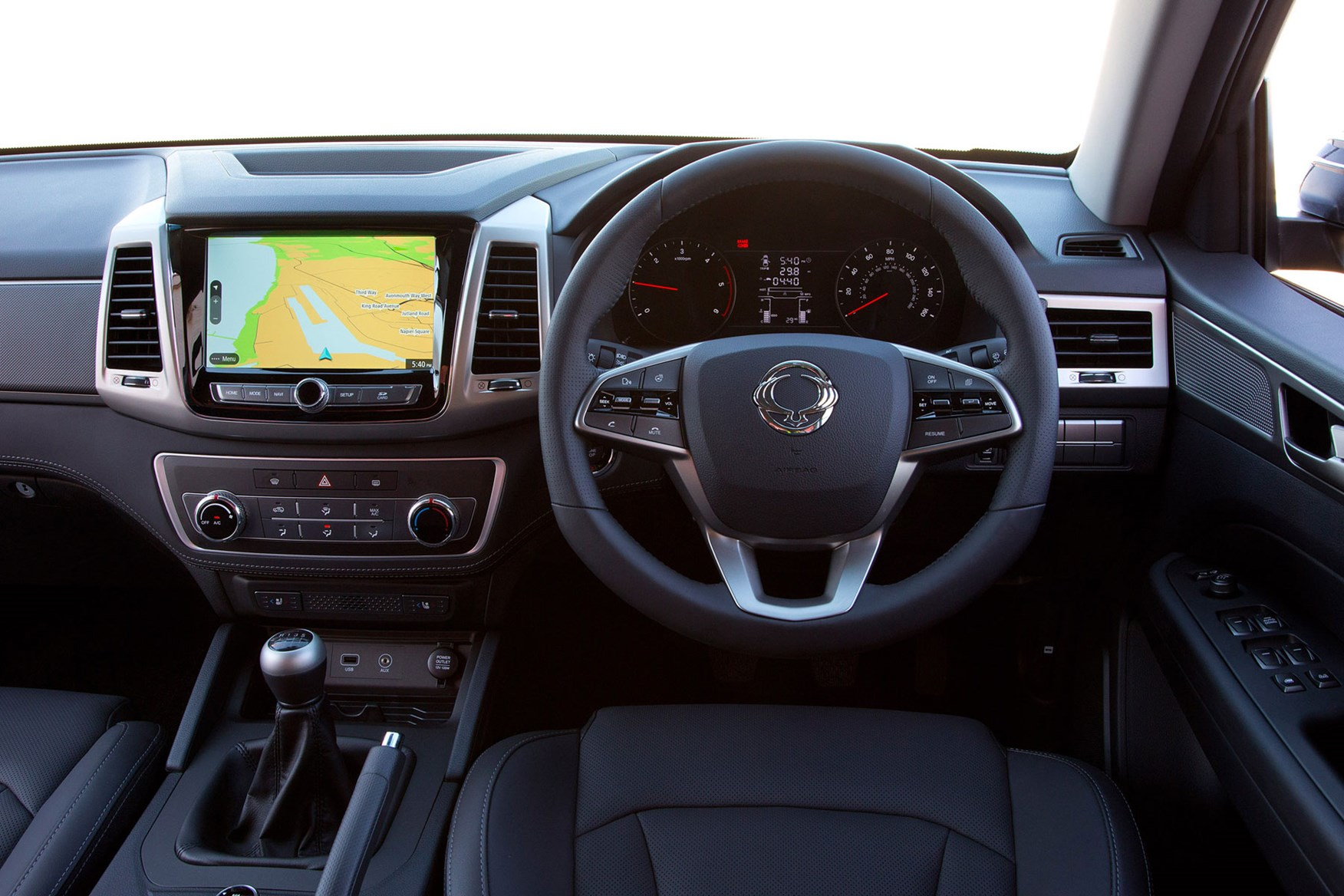 SsangYong Musso (2018-on) review, cab interior with large touchscreen infotainment system
