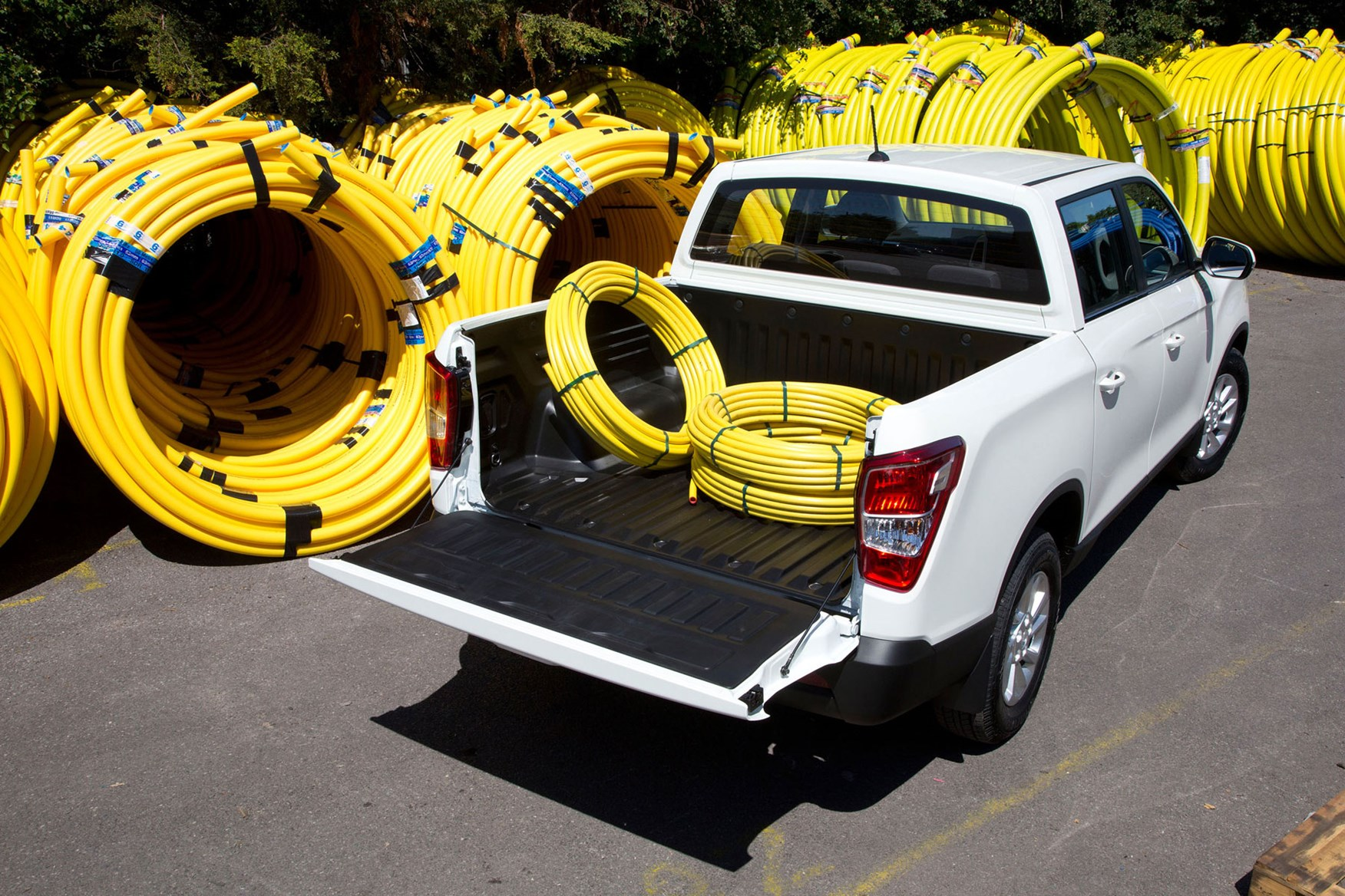 SsangYong Musso pickup, loaded with pipes, white, rear view