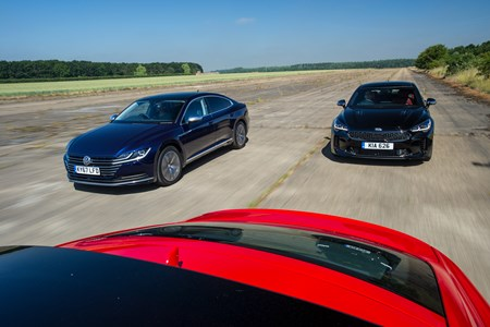Kia Stinger Vs Audi A5 Coupe Vw Arteon Driving Shot