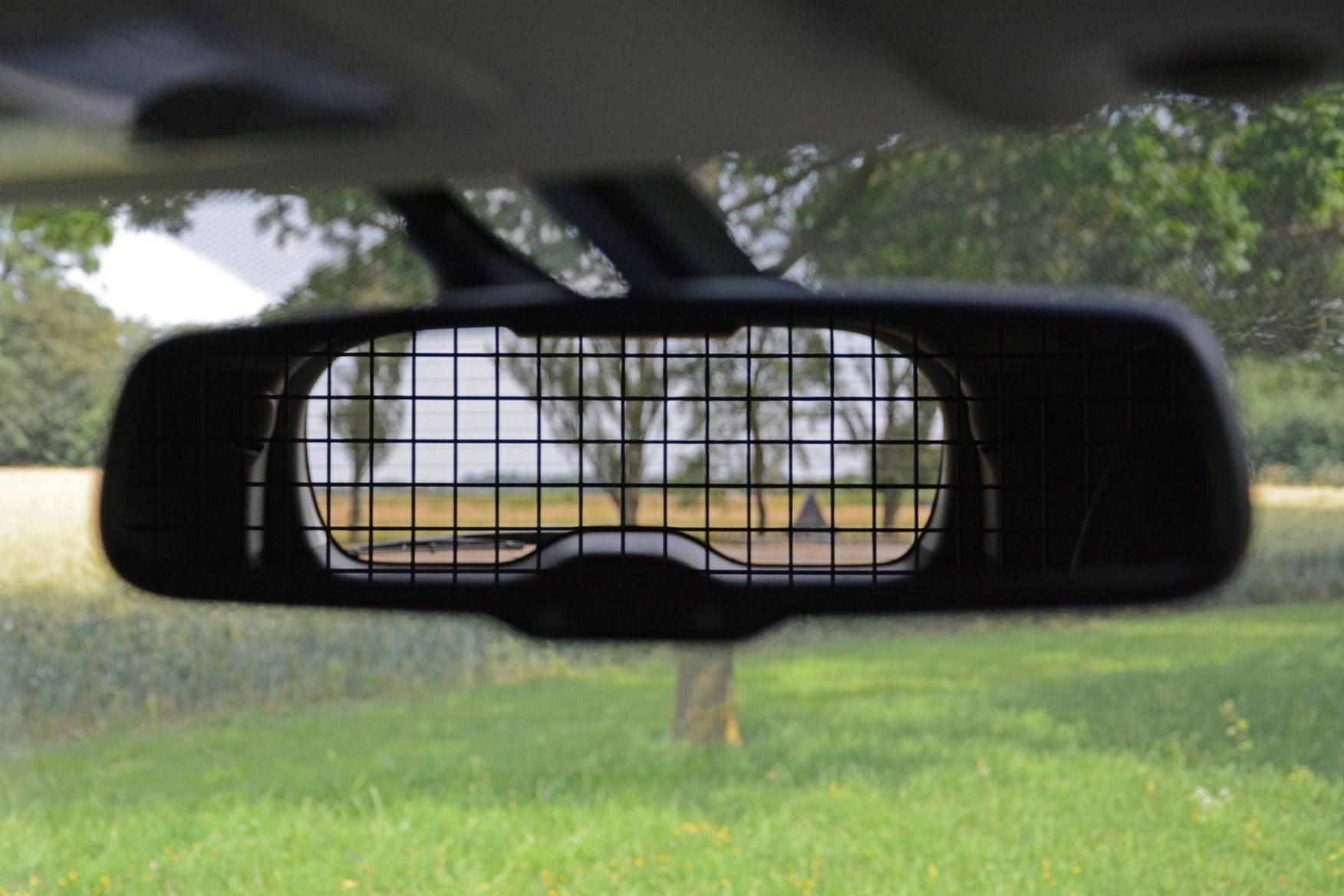 Mitsubishi Shogun Sport Commercial 4x4 van review - rear view in mirror through bulkhead mesh