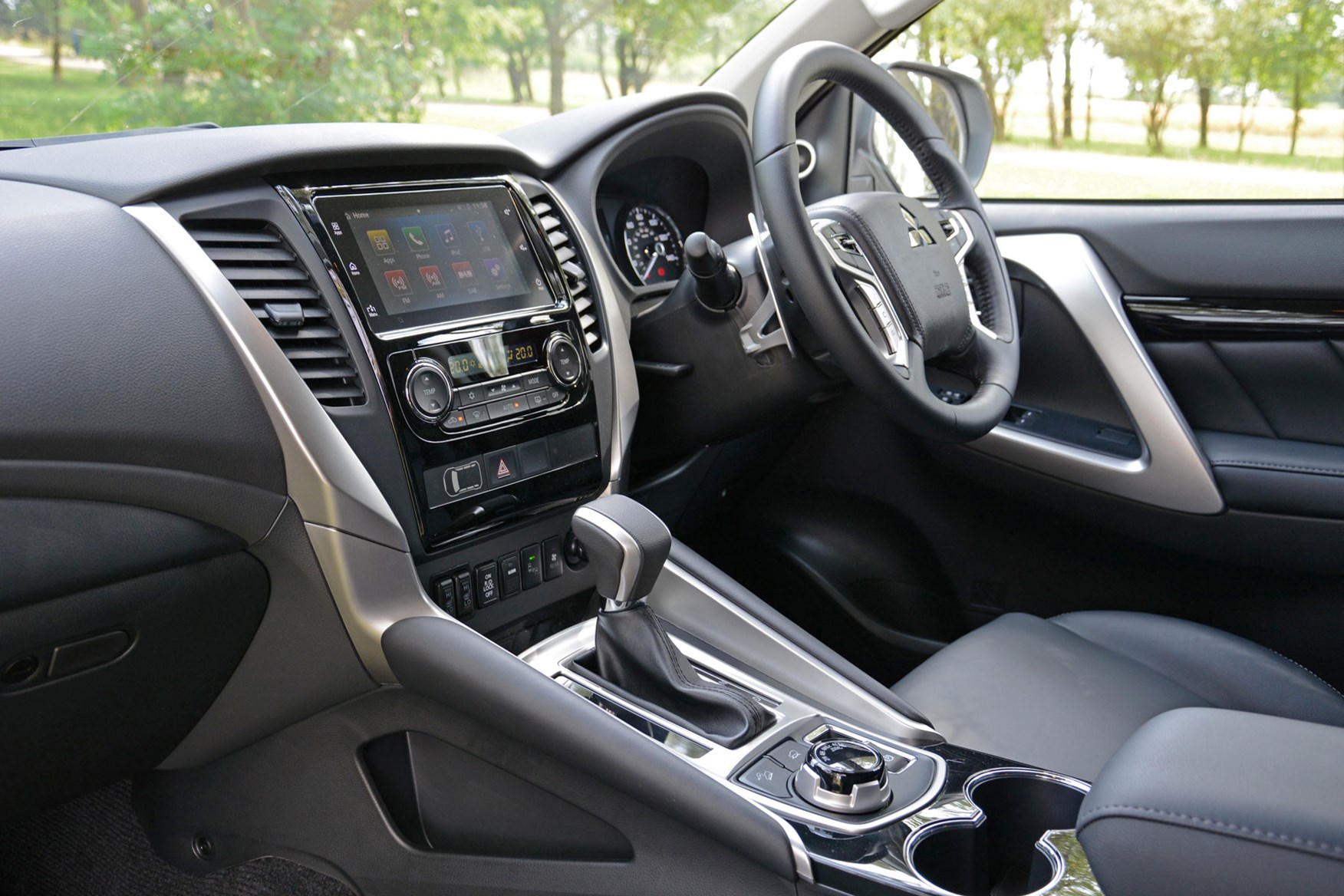 Mitsubishi Shogun Sport Commercial 4x4 van review - cab interior showing shifter for eight-speed automatic gearbox