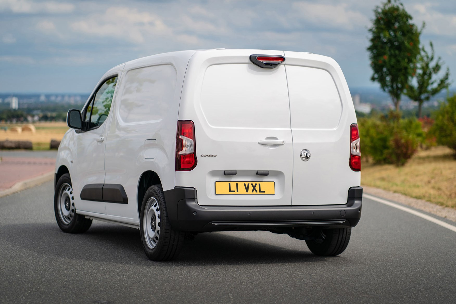 Vauxhall Combo Cargo van review - rear view, white, 2020