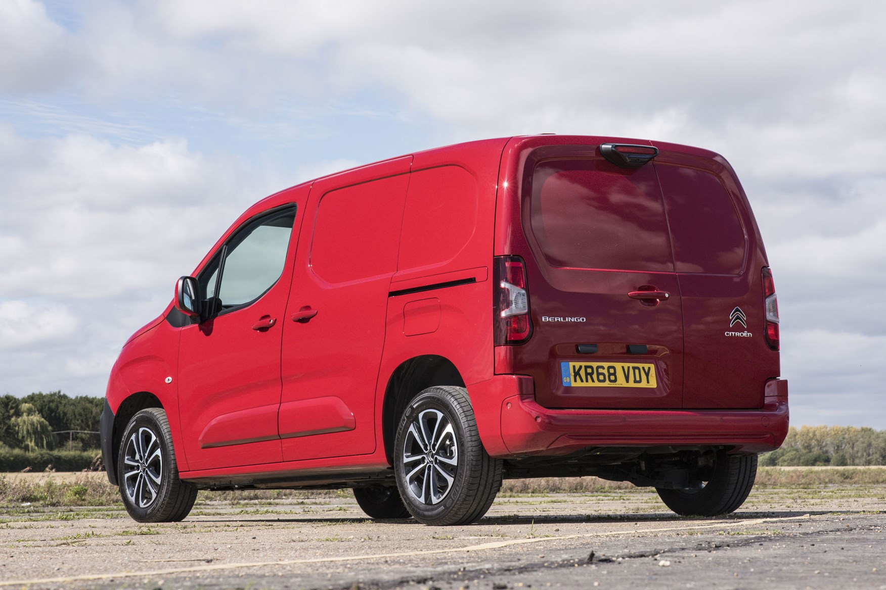 Citroen Berlingo van review - 2019 model, rear view, red