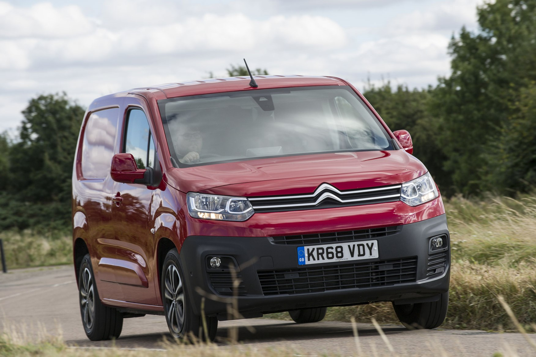 Citroen Berlingo van review - 2019 model, front view, red, driving