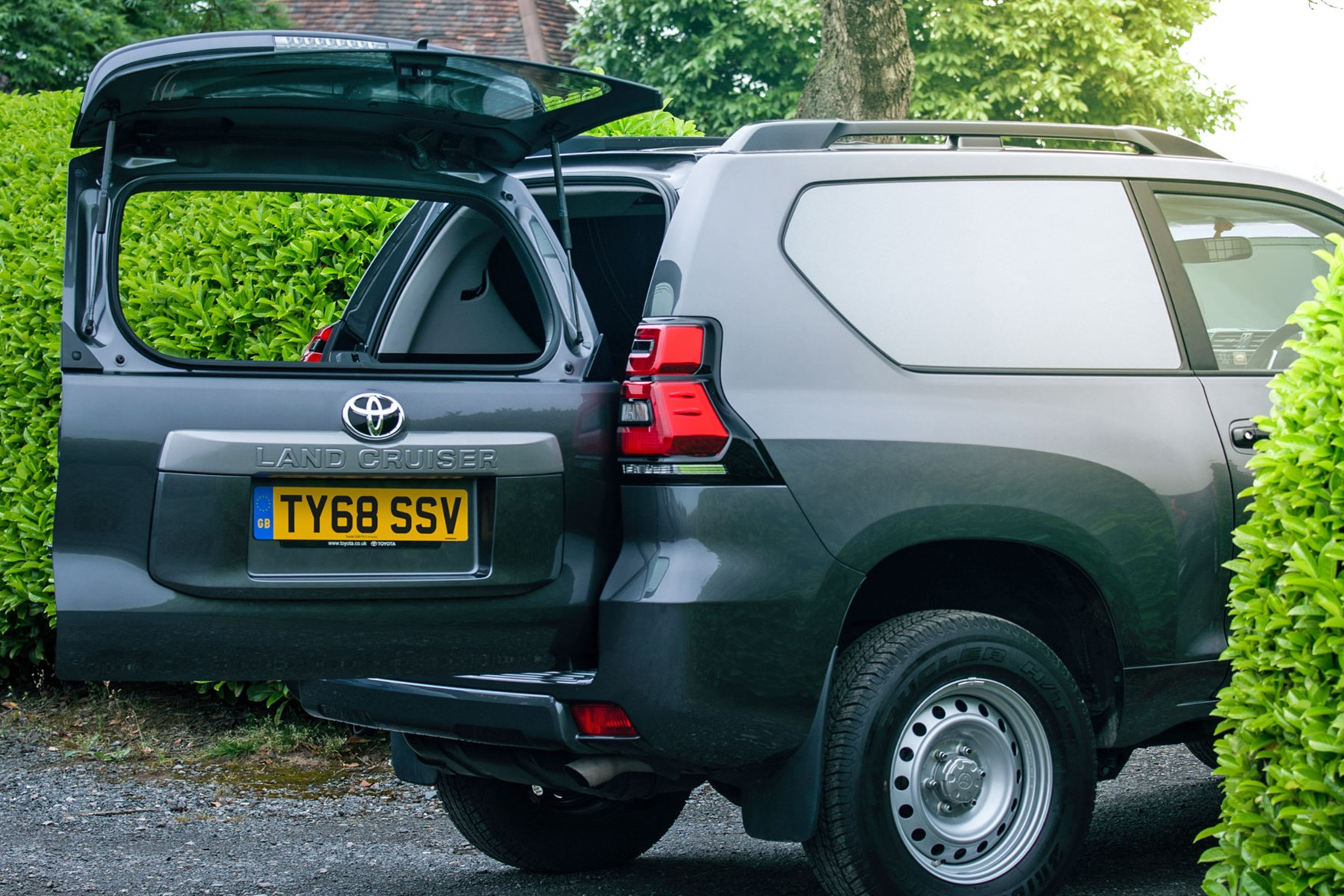 Toyota Land Cruiser Commercial dimensions - rear tailgate open with window open