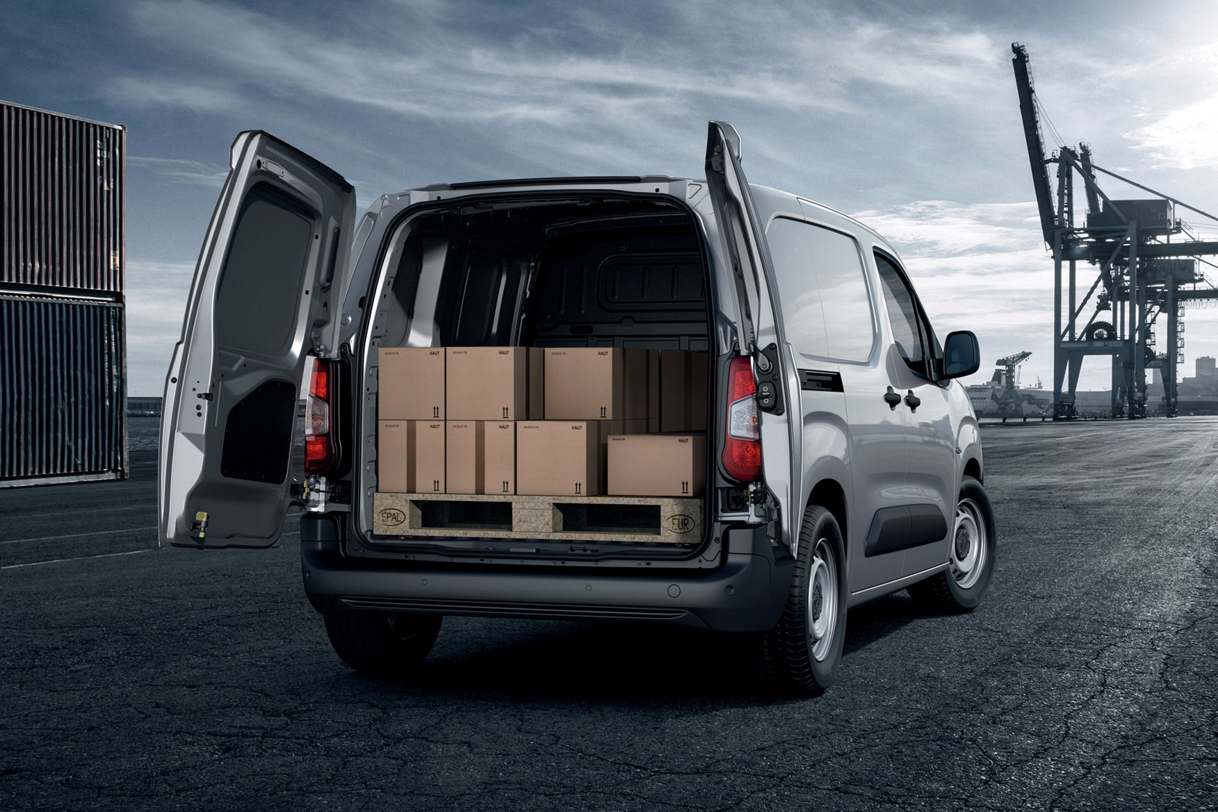 Peugeot Partner review 2020, rear view, load area filled with boxes
