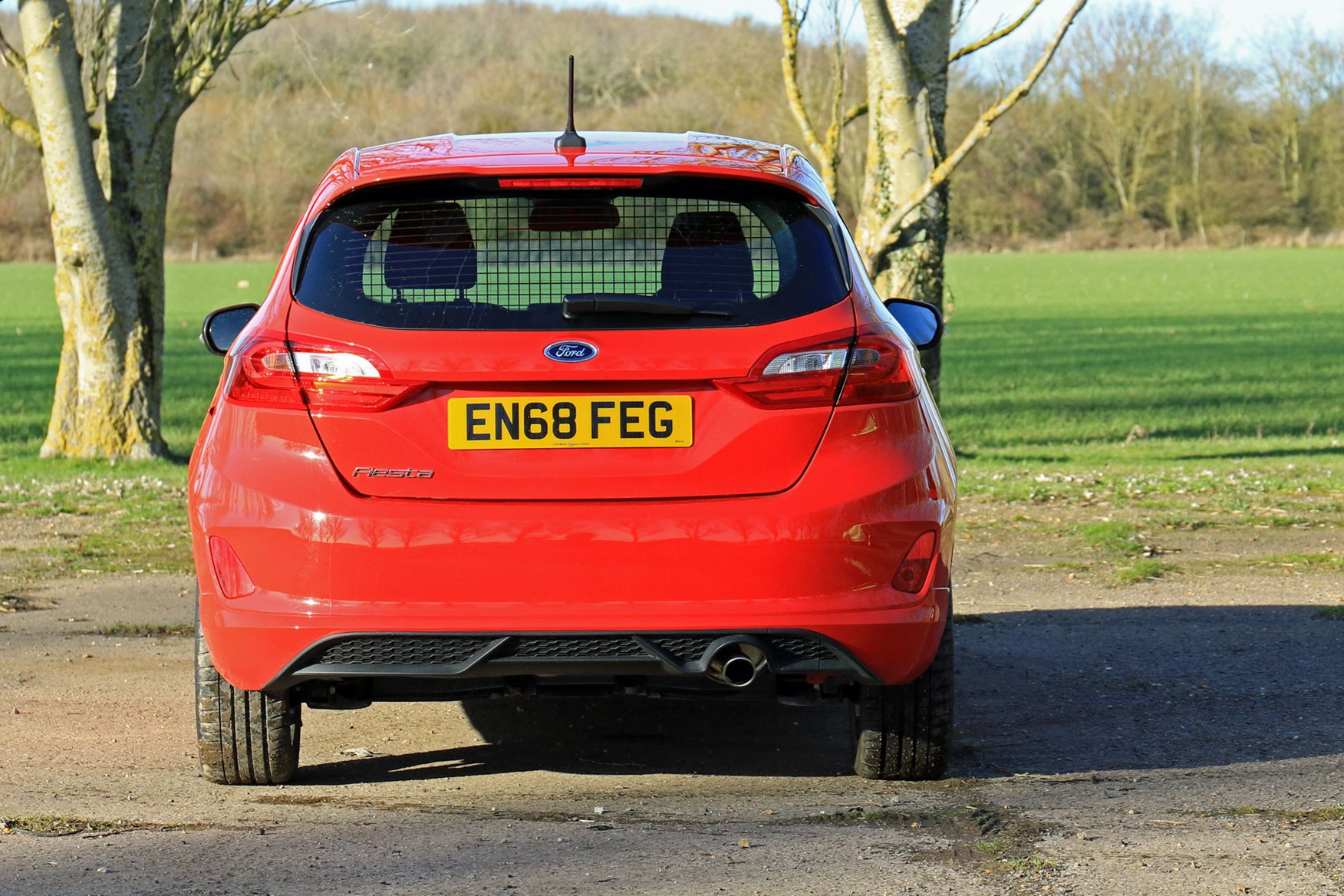 Ford Fiesta Sport Van review - rear view, dead-on, red