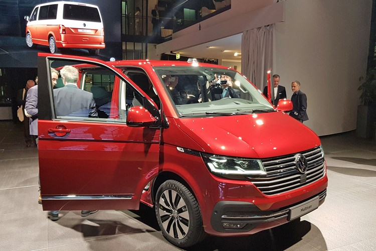 2019 VW Transporter T6.1 facelift - reveal event in Wolfsburg, front view, red