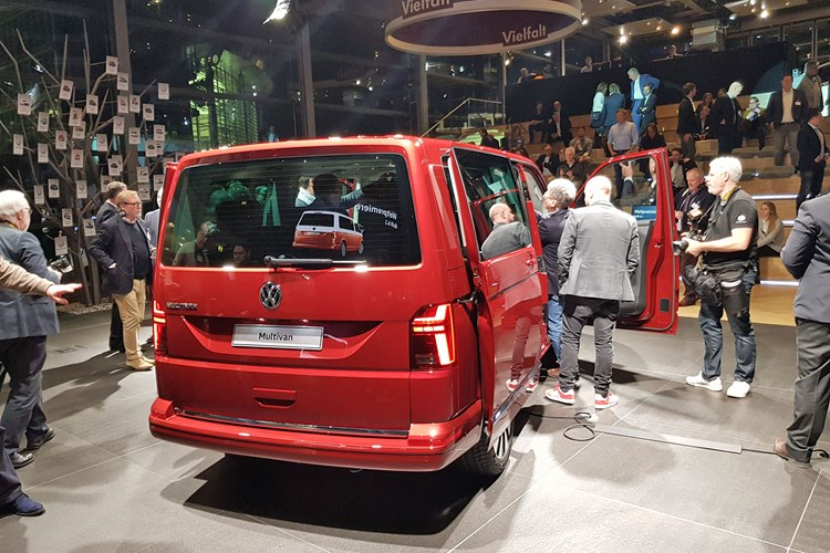 2019 VW Transporter T6.1 facelift - reveal event in Wolfsburg, rear view, red