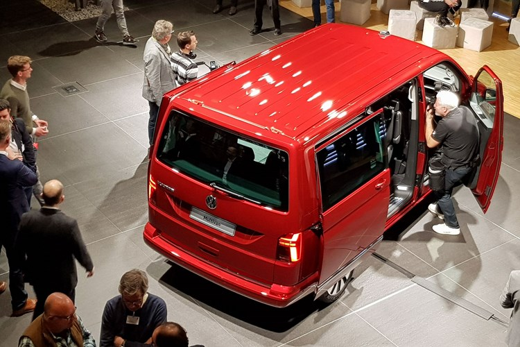 2019 VW Transporter T6.1 facelift - reveal event in Wolfsburg, top down view, rear, red