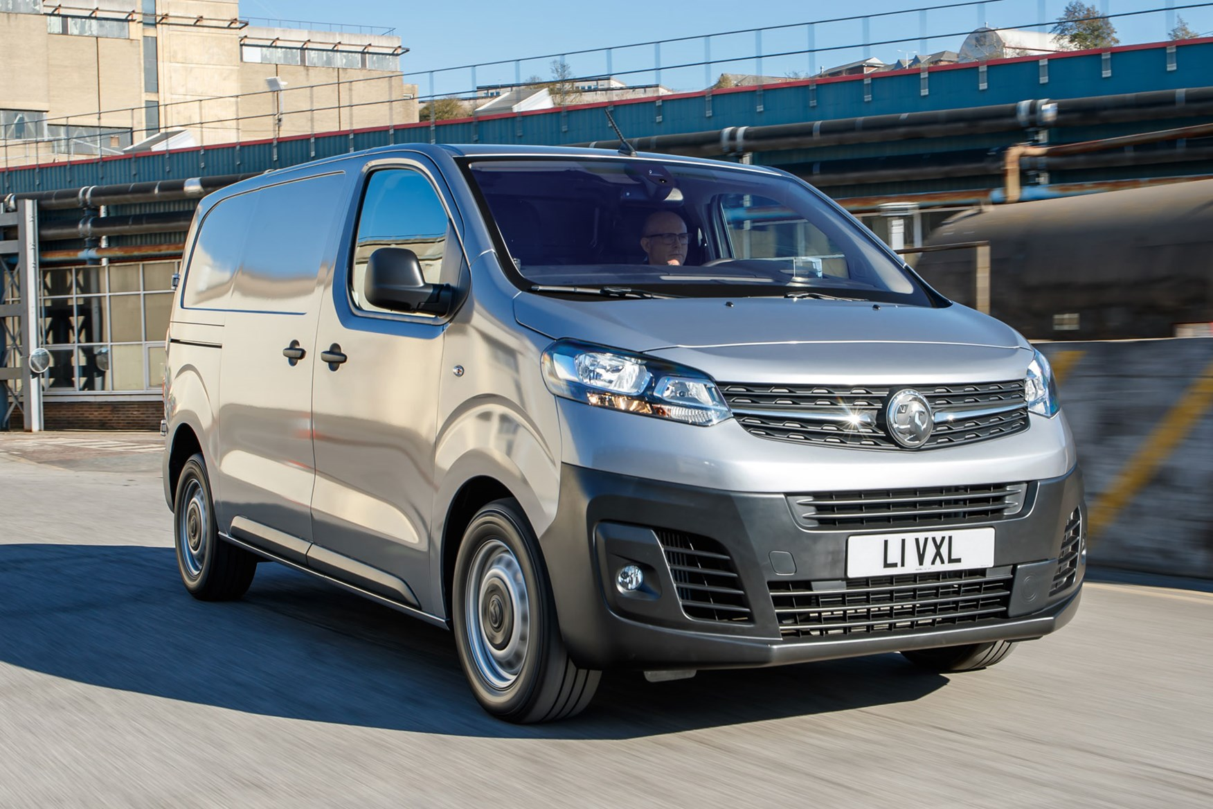 Vauxhall Vivaro review - front view, driving, silver, sunshine, 2020