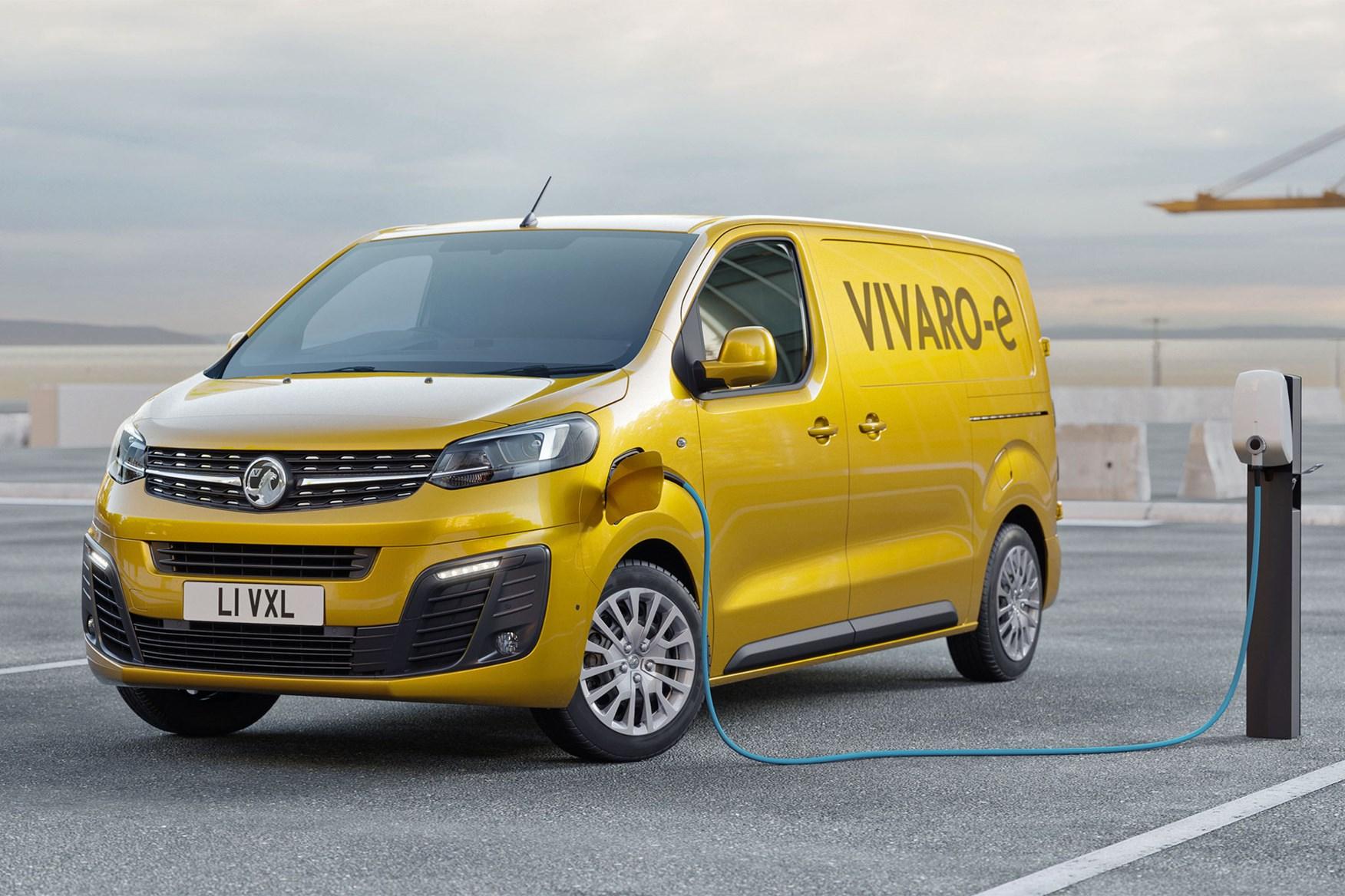 Vauxhall Vivaro-e electric van - charging, yellow, on sale in 2020
