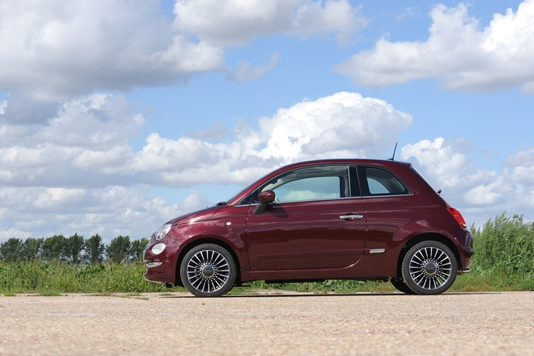 Red Fiat 500 side