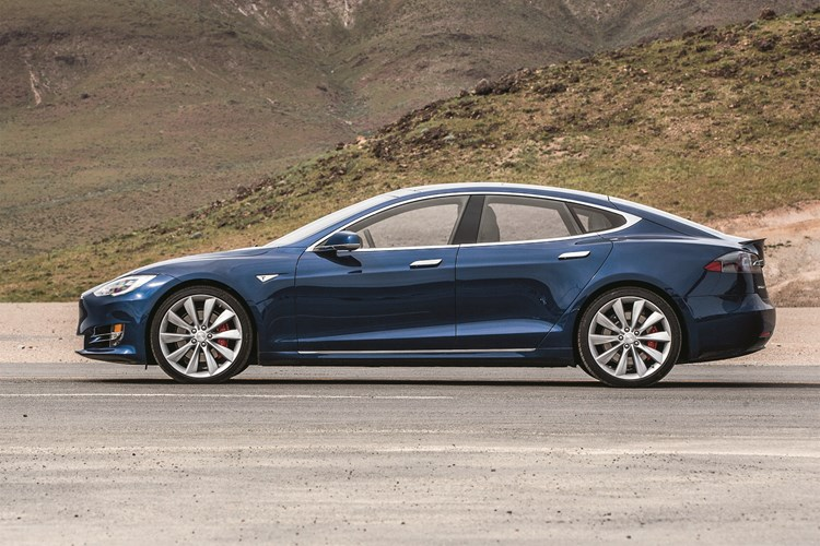 Blue Tesla Model S side on