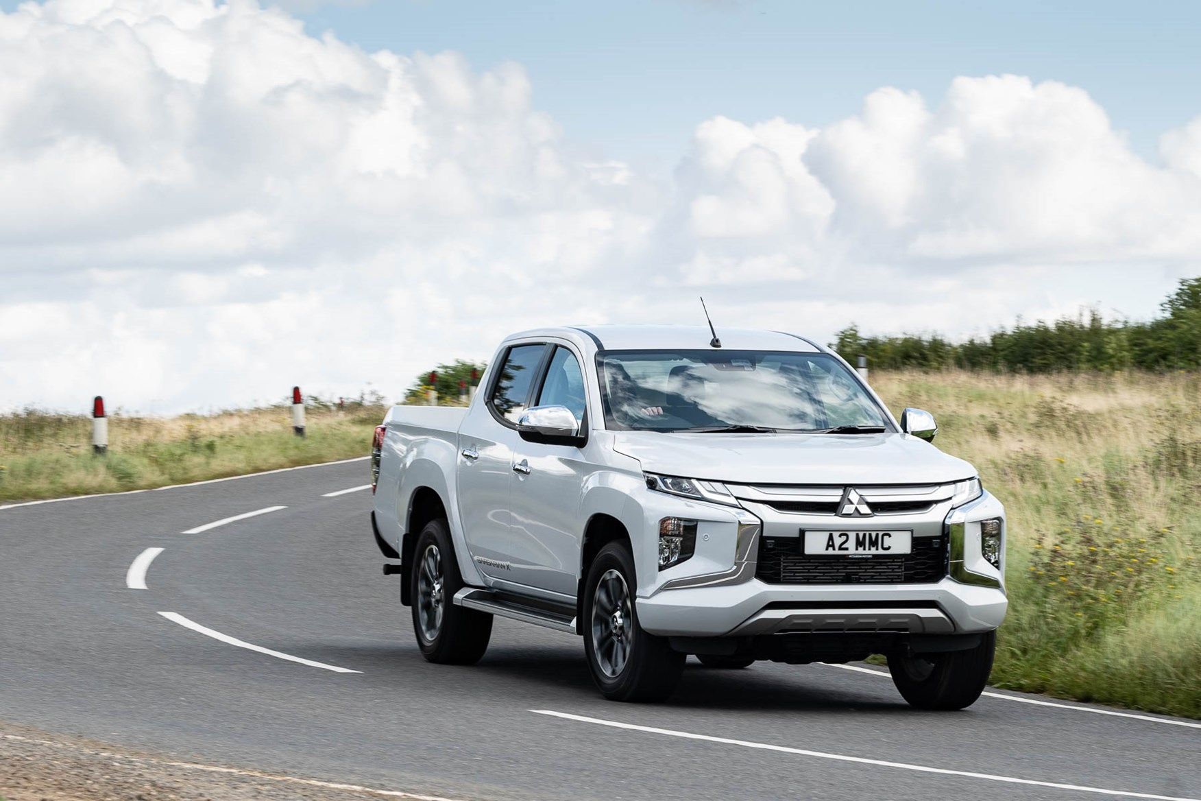 2019 Mitsubishi L200, Barbarian X cornering, UK. Diamond White