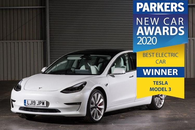 Static white 2019 Tesla Model 3