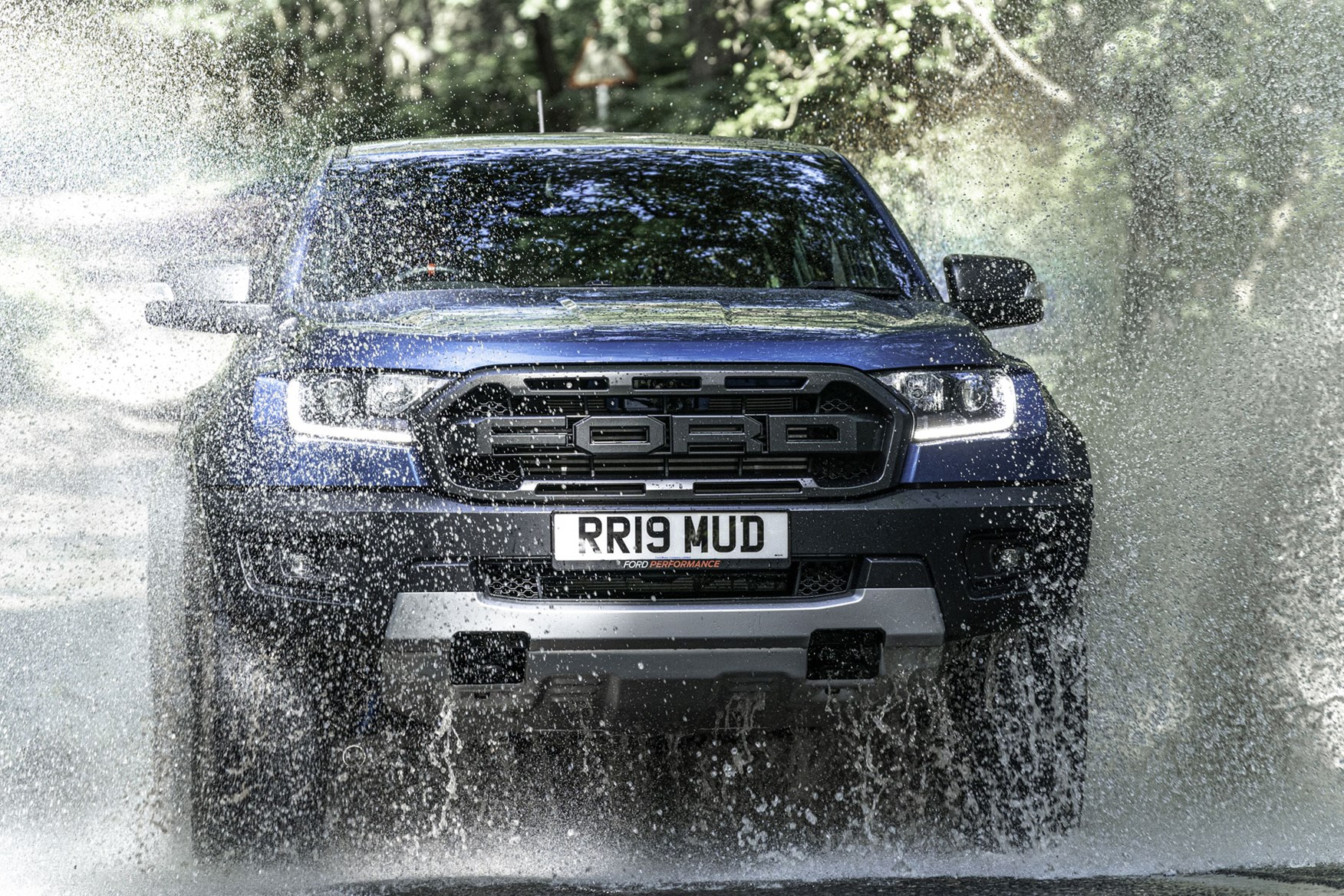 Ford Ranger Raptor review - dead-on front view, splashing through water 2020