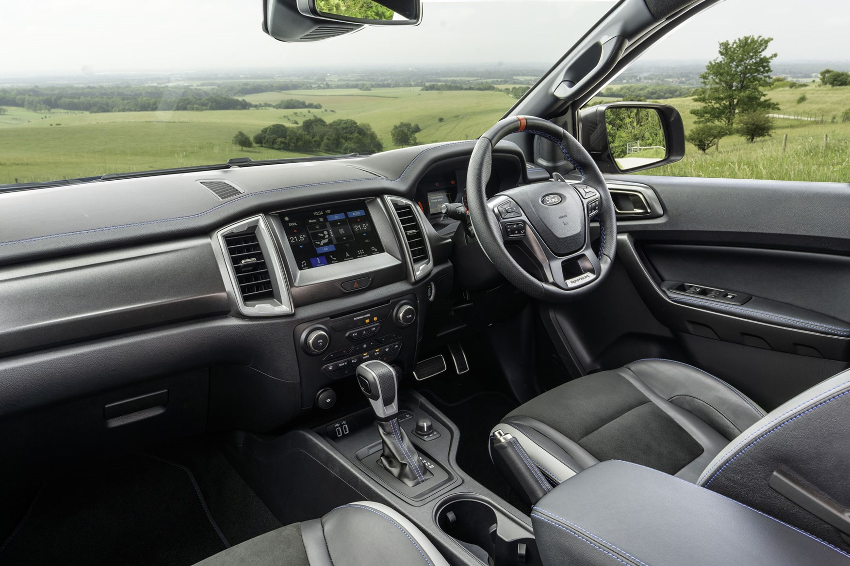 Ford Ranger Raptor review - right-hand drive cab interior, steering wheel, dashboard 2020
