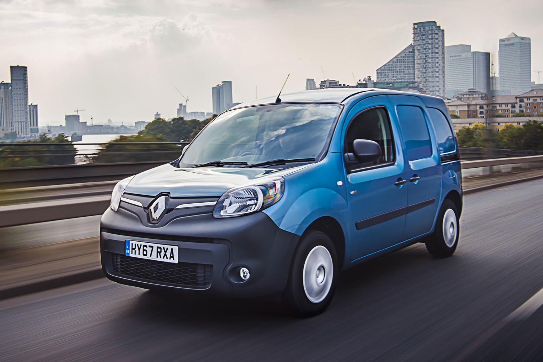Renault Kangoo ZE review 2020 - front view, blue, driving