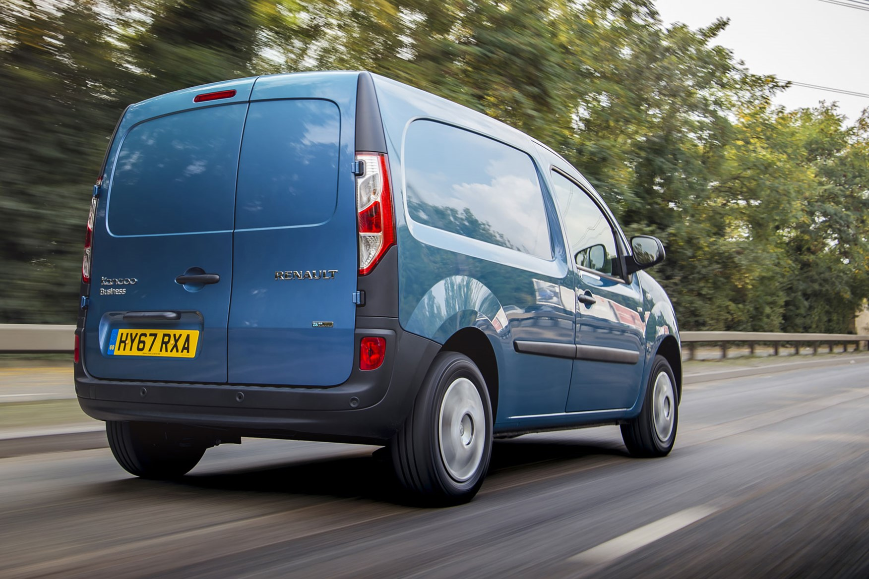 Renault Kangoo ZE review 2020 - rear view, blue, driving
