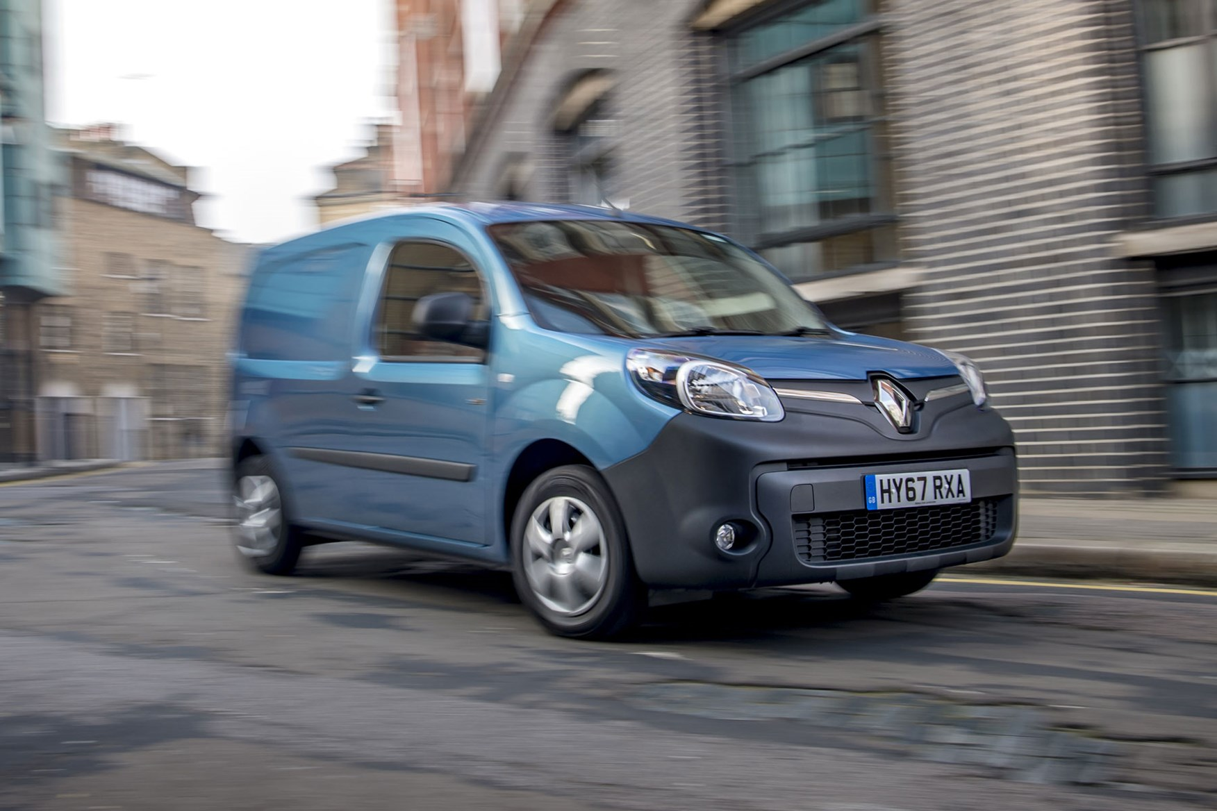 Renault Kangoo ZE review 2020 - front view, blue, driving round corner