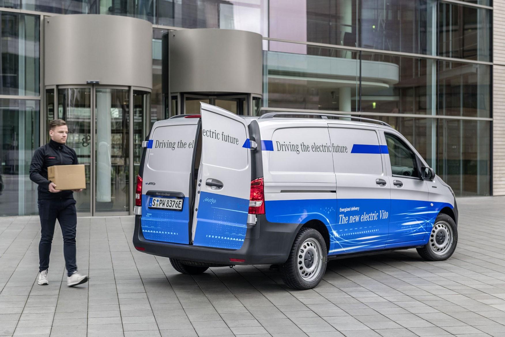 Mercedes-Benz eVito electric van review, 2020, being loaded through rear door