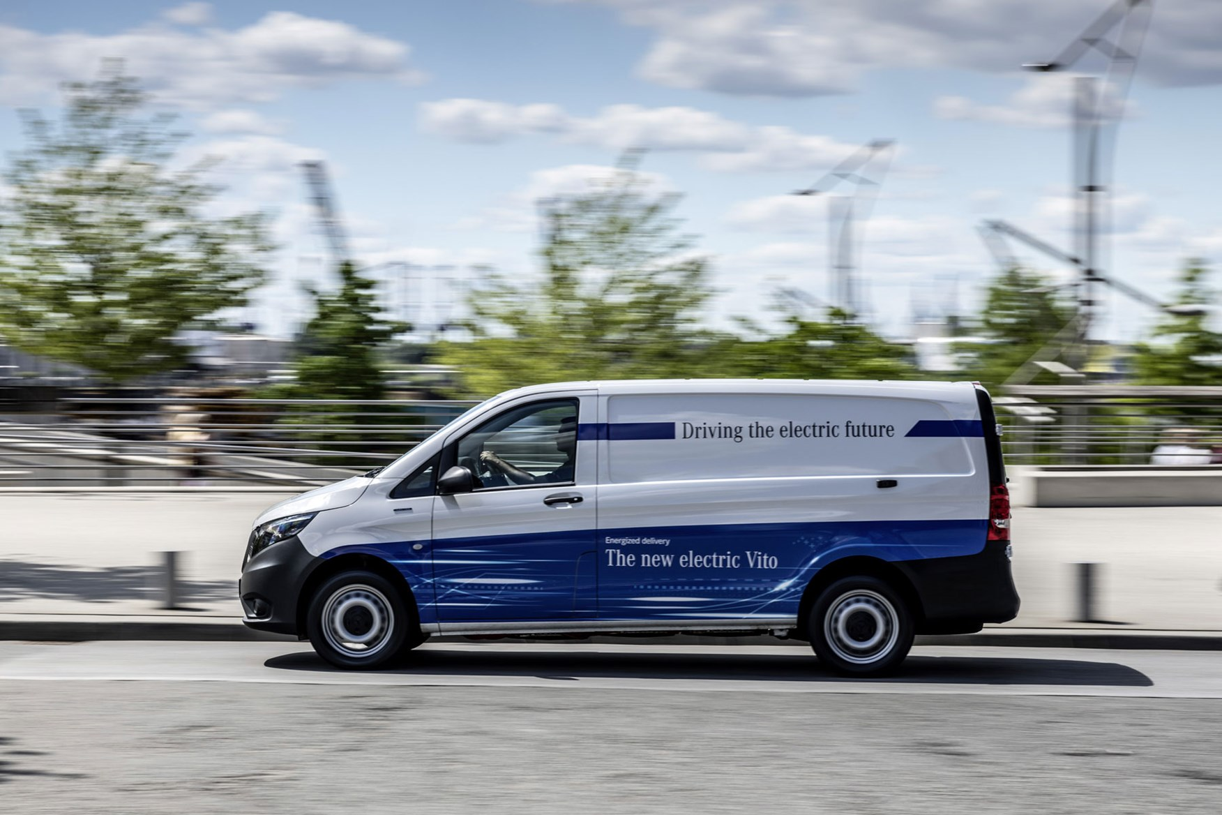 Mercedes-Benz eVito electric van review, 2020, side view, driving