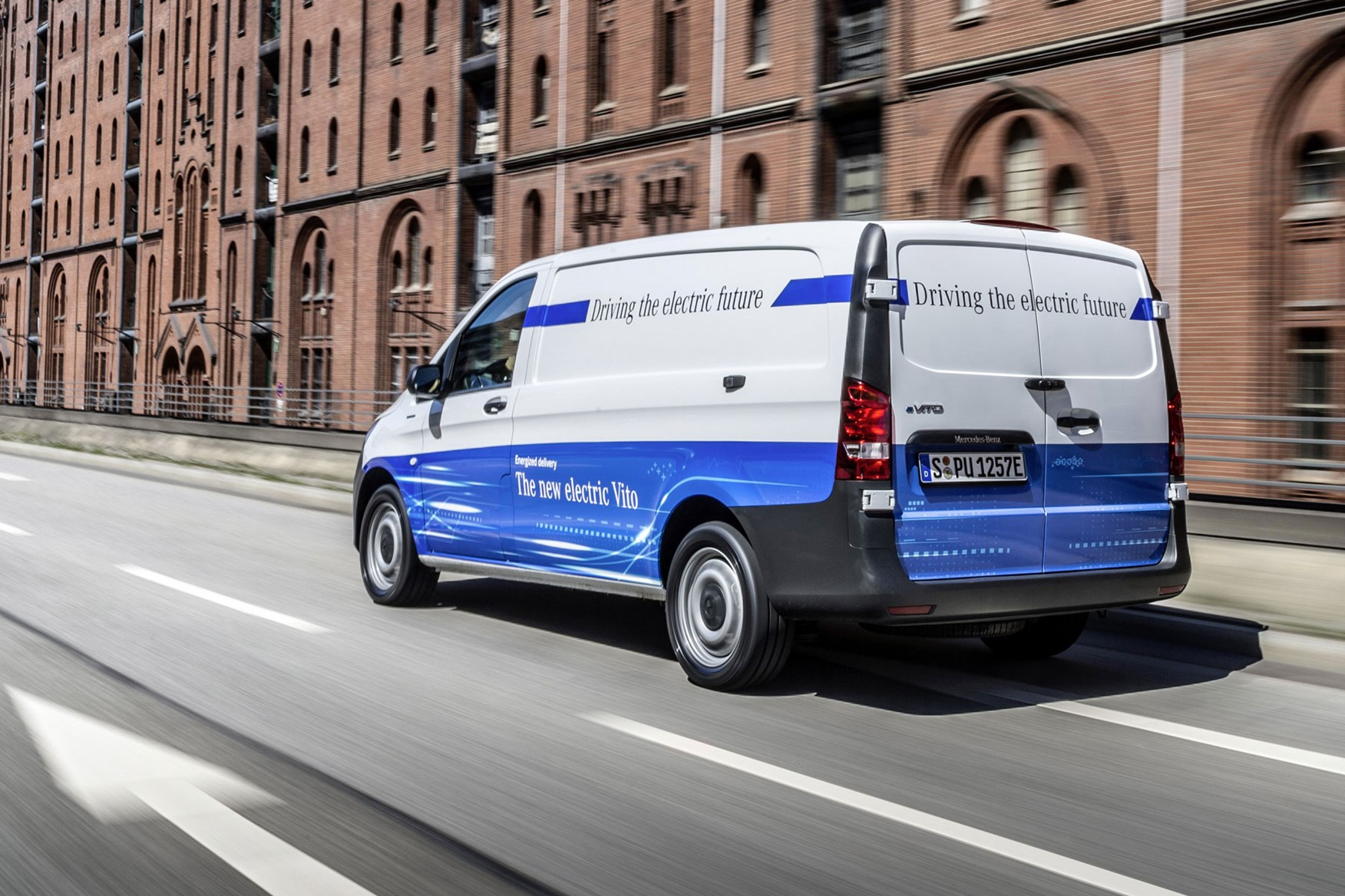 Mercedes-Benz eVito electric van review, 2020, rear side view, driving