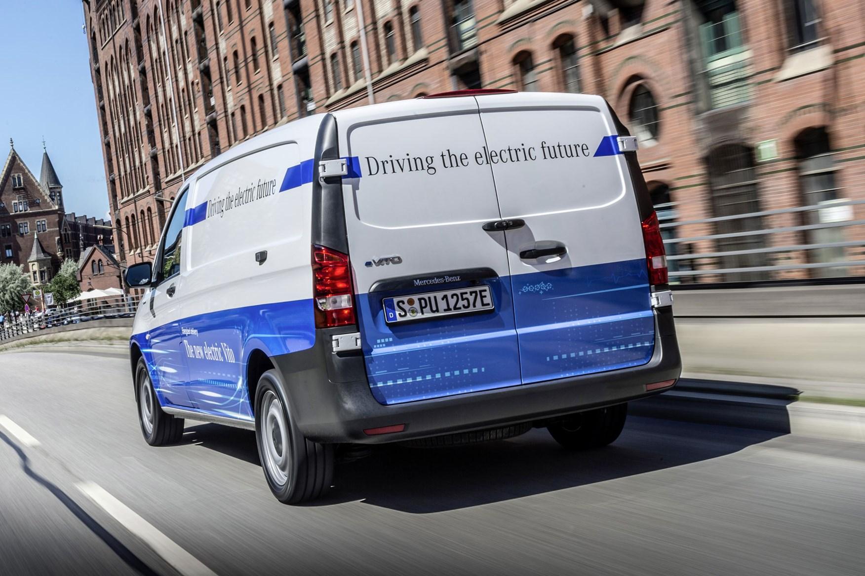 Mercedes-Benz eVito electric van review, 2020, rear view, driving