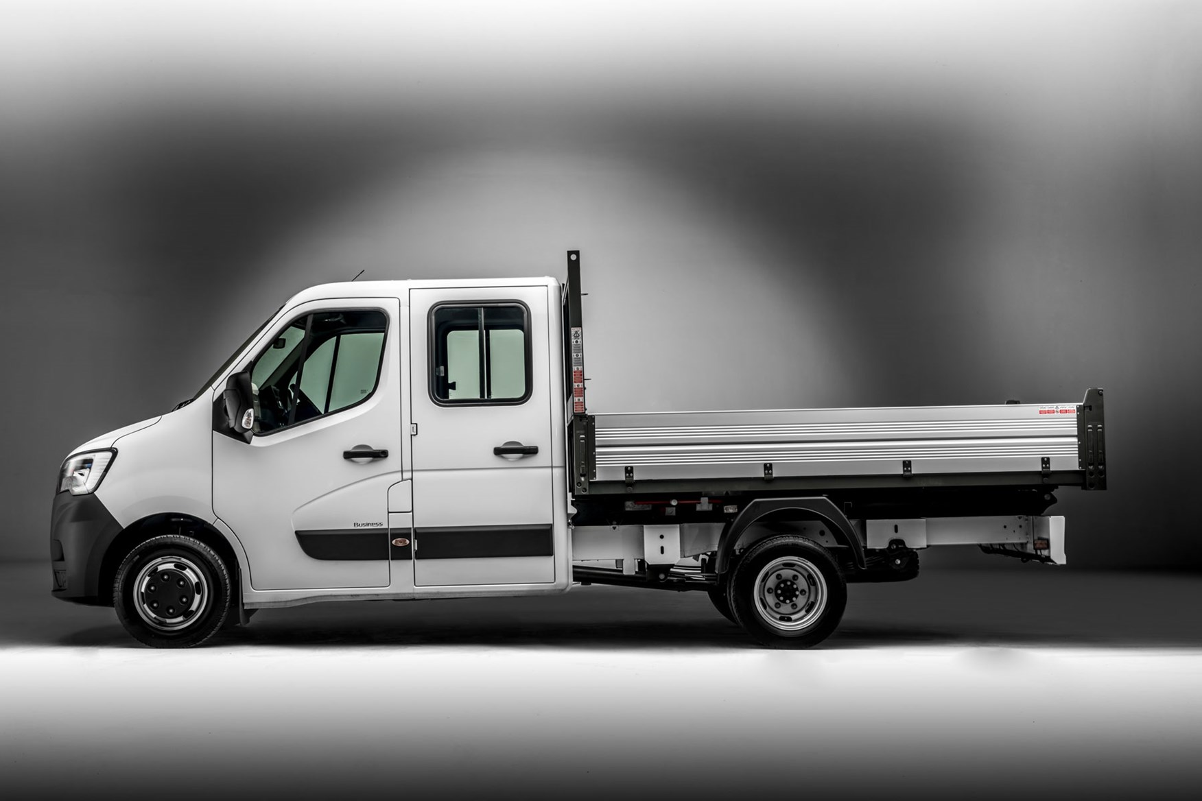 Renault Master ZE electric van review, 2020 - double cab tipper conversion, side view