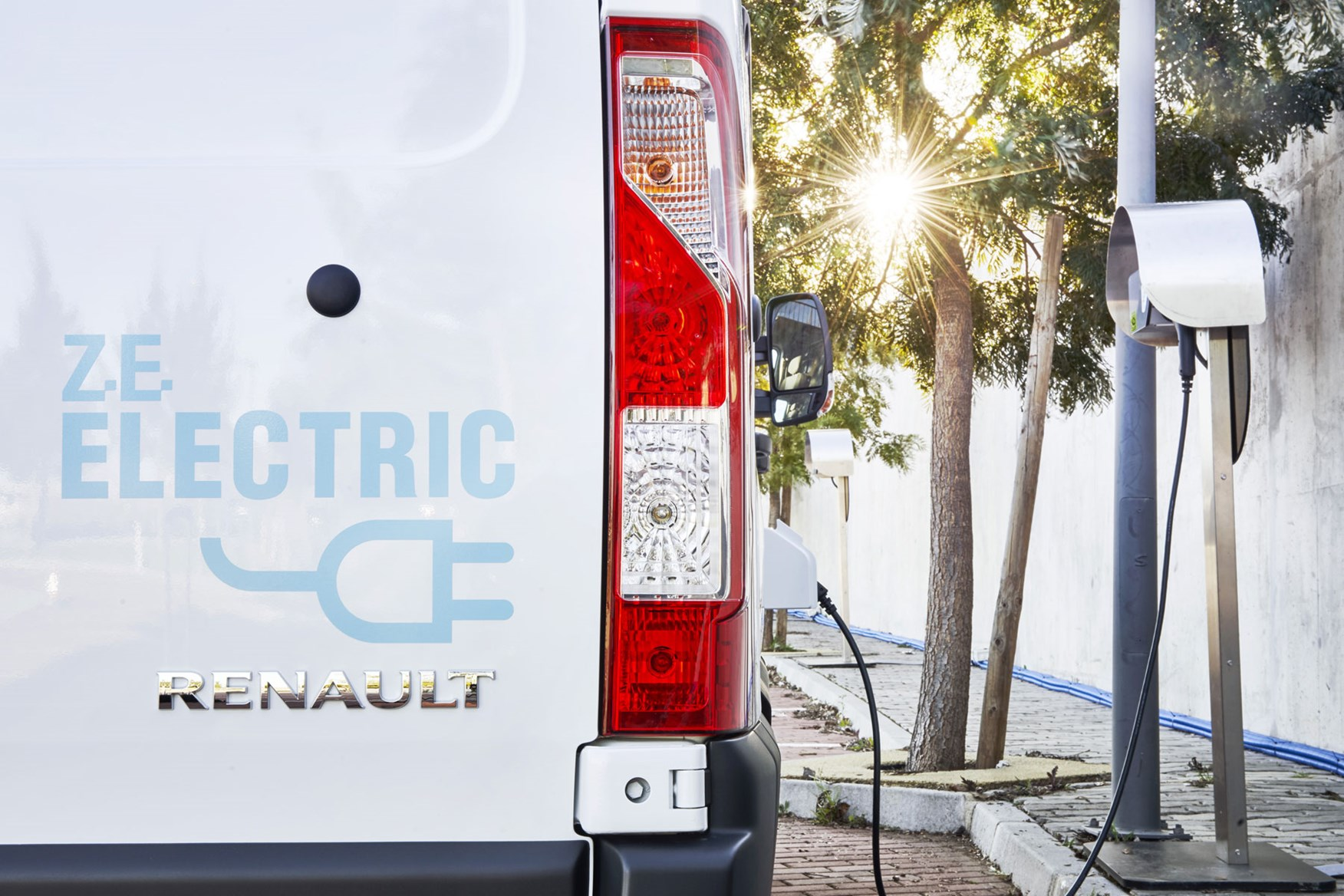 Renault Master ZE electric van review, 2020 - electric graphic on rear door, close up