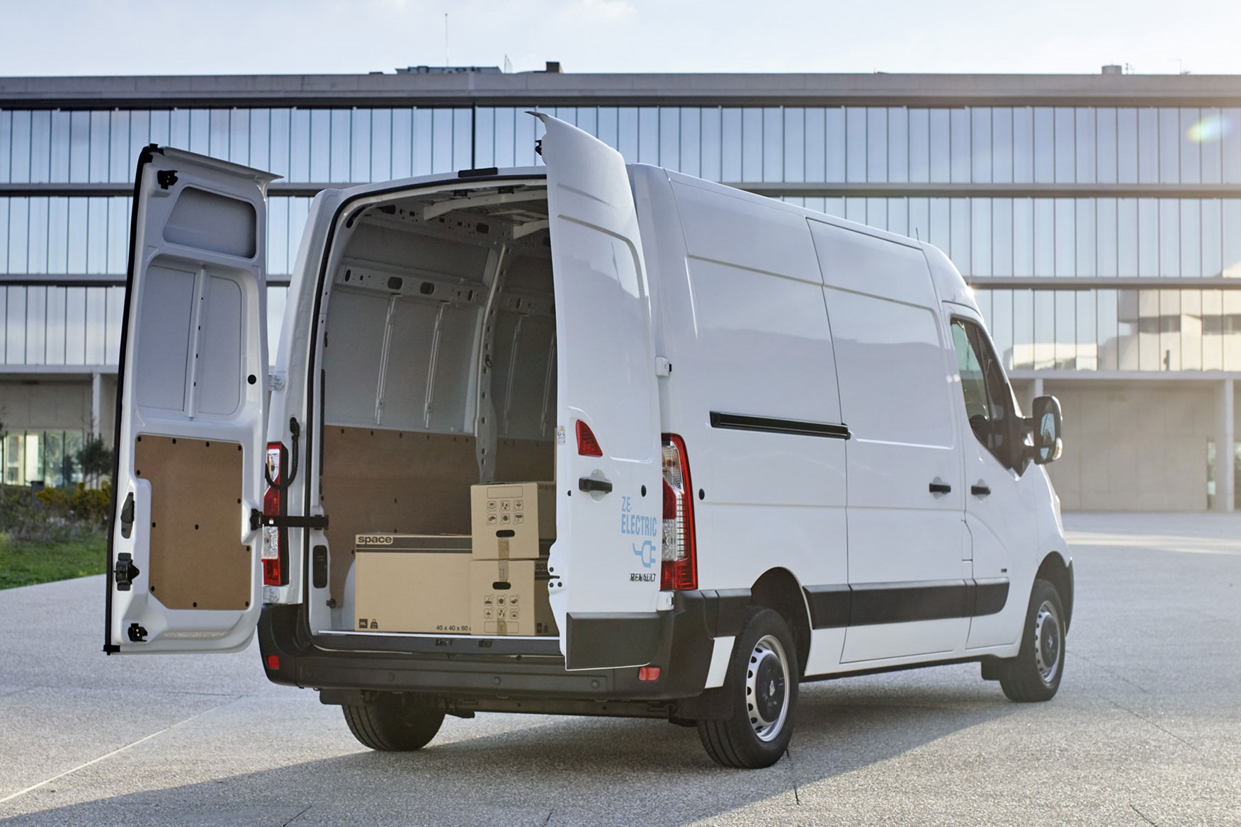 Renault Master ZE electric van review, 2020 - rear view, load area with boxes