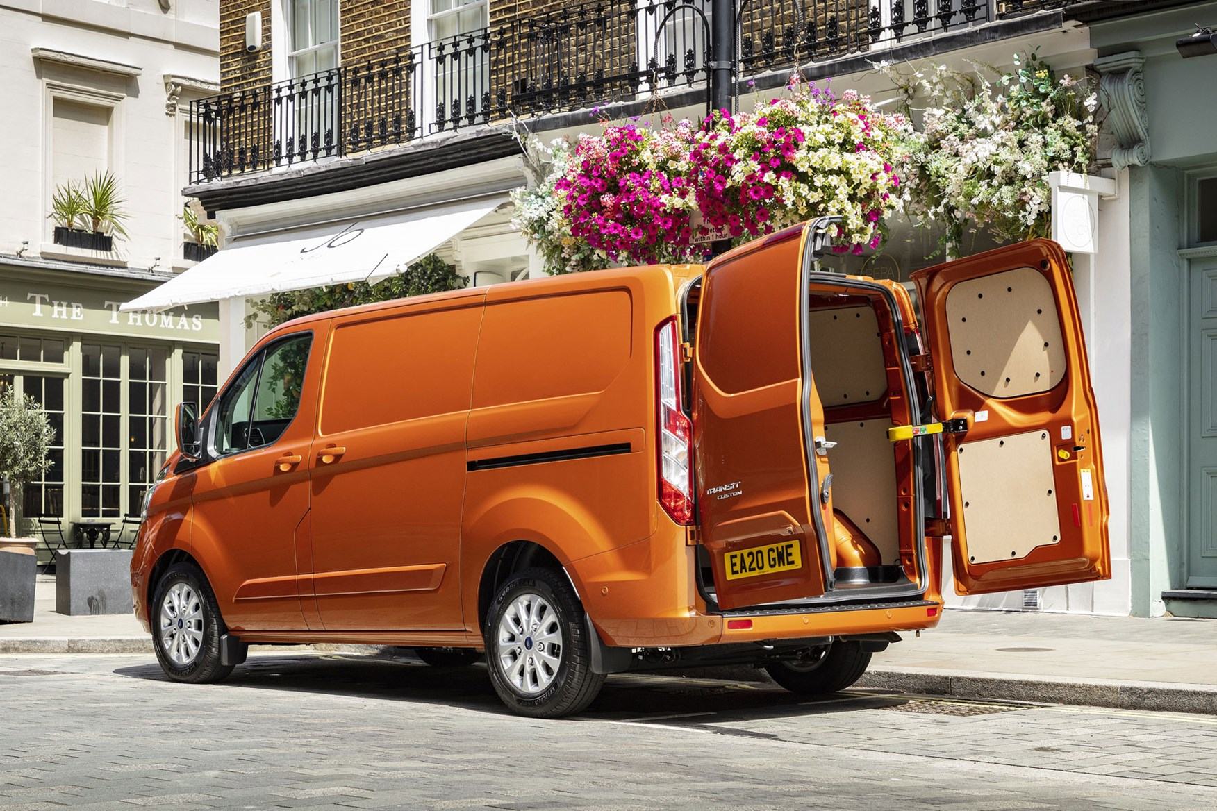 Ford Transit Custom Plug-In Hybrid, 2020, exterior dimensions, rear view, doors open, orange