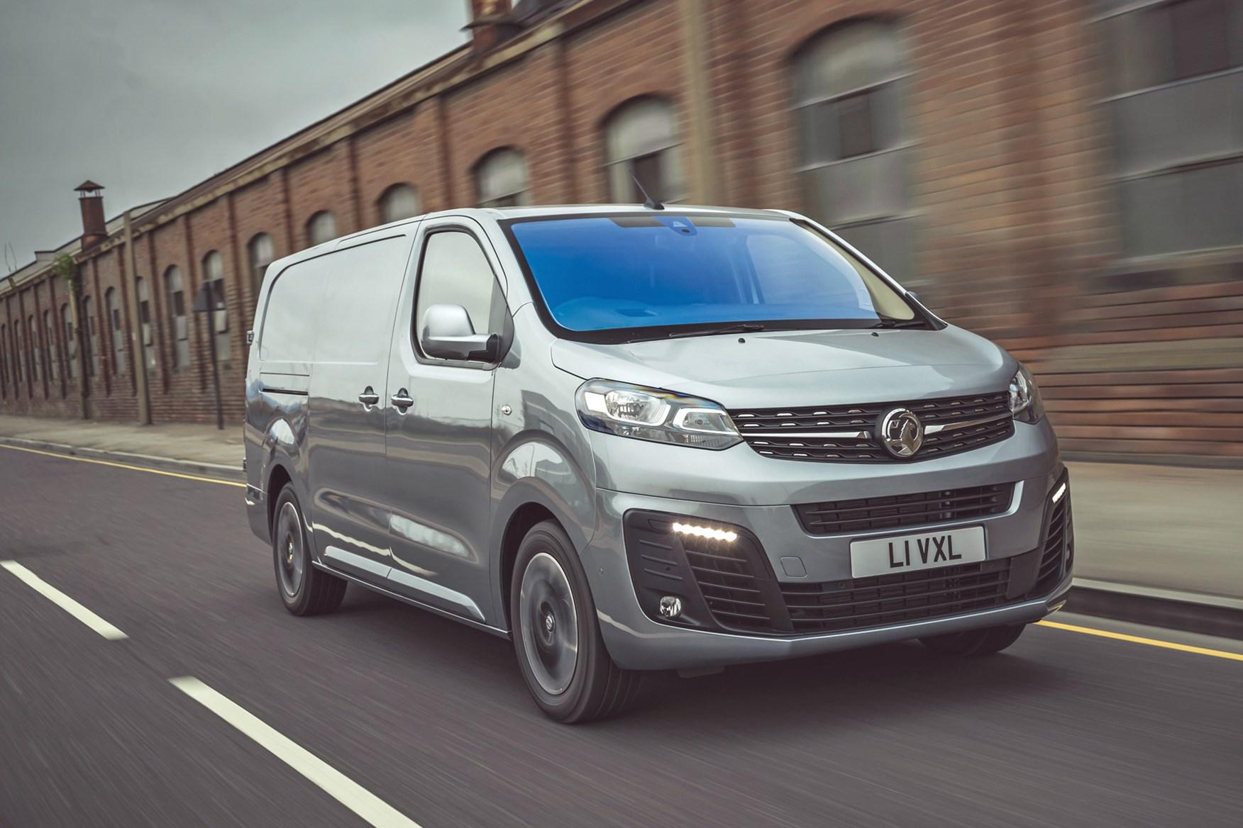 Vauxhall Vivaro-e review, 2020, electric van, front  view, driving, grey