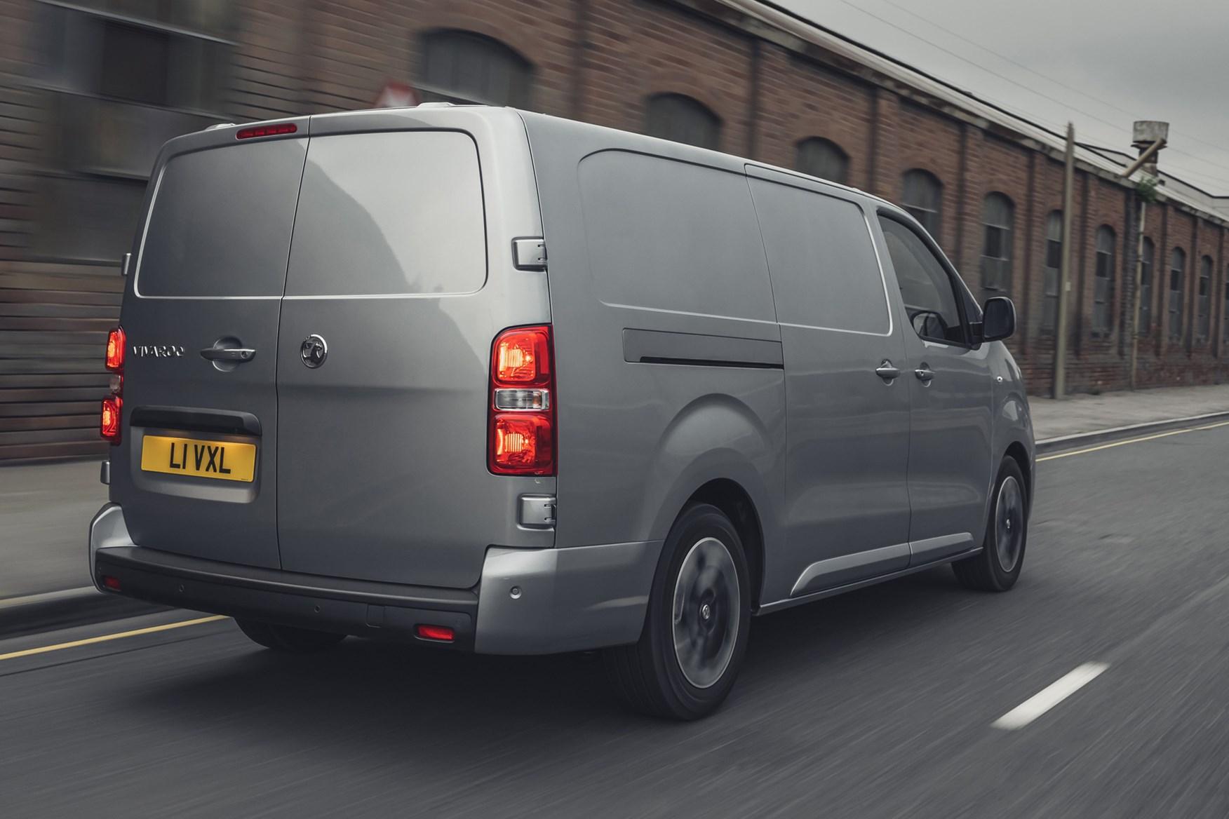 Vauxhall Vivaro-e review, 2020, electric van, rear view, driving, grey