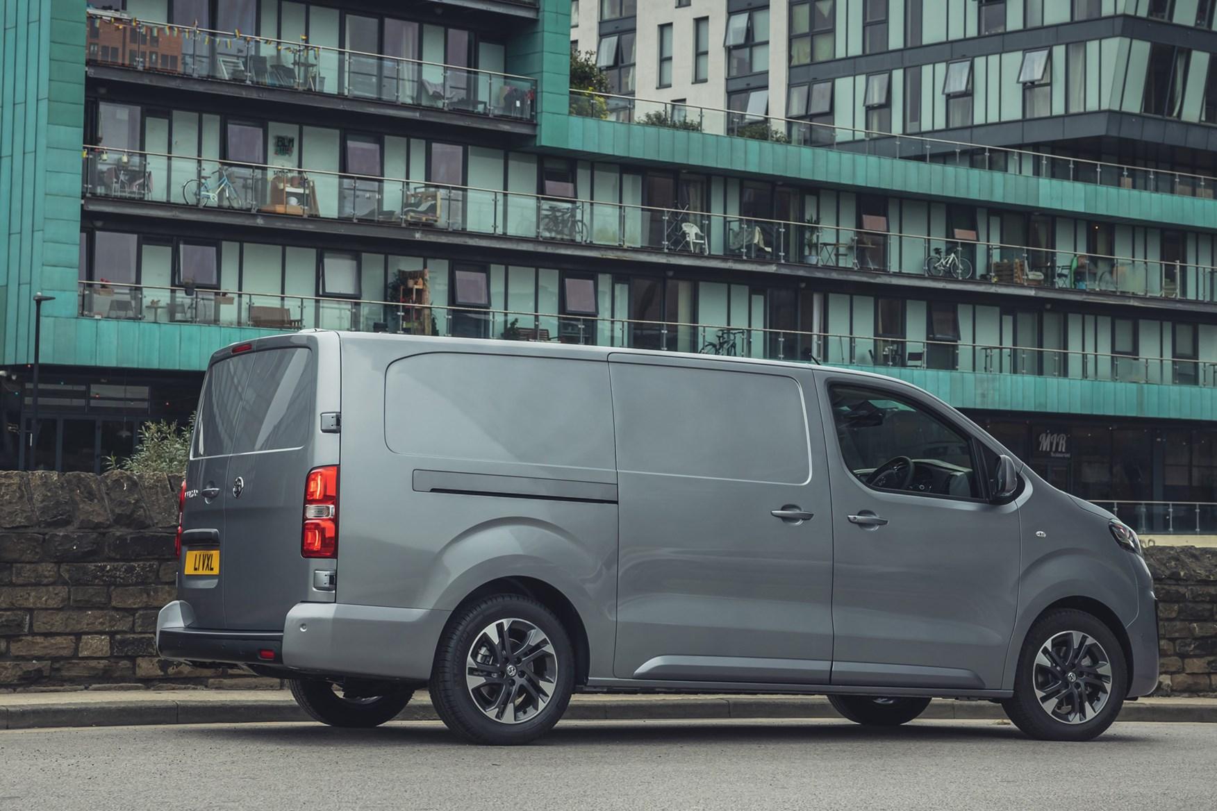 Vauxhall Vivaro-e review, 2020, electric van, rear view, grey
