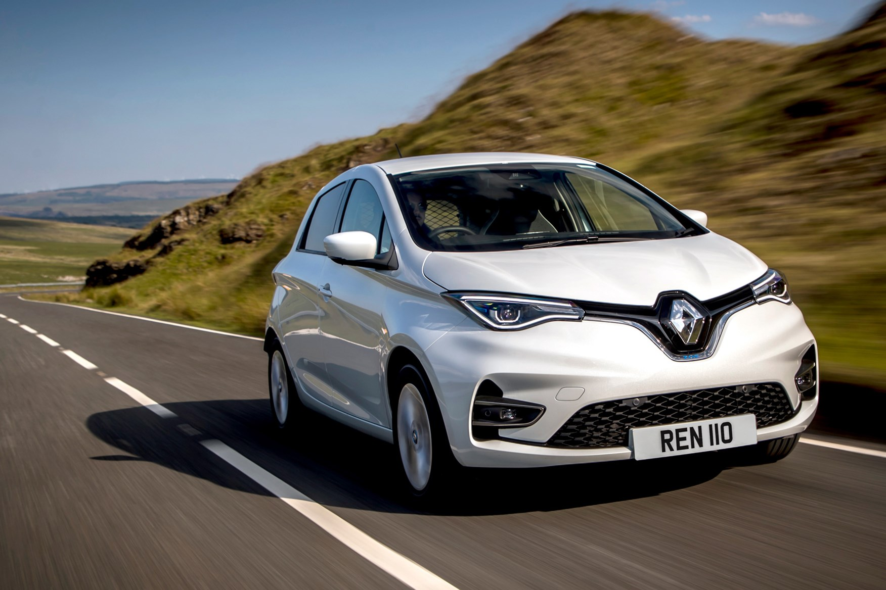 Renault Zoe Van review, 2020, front view, white, driving