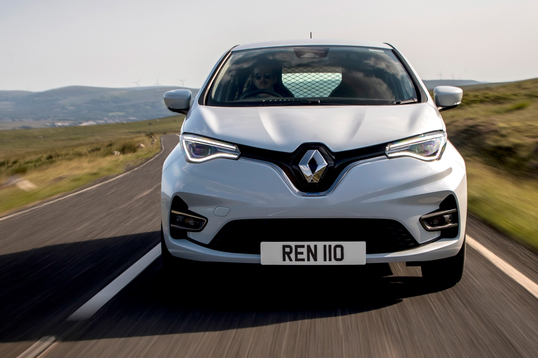 Renault Zoe Van review, 2020, dead-on  front view, white, driving