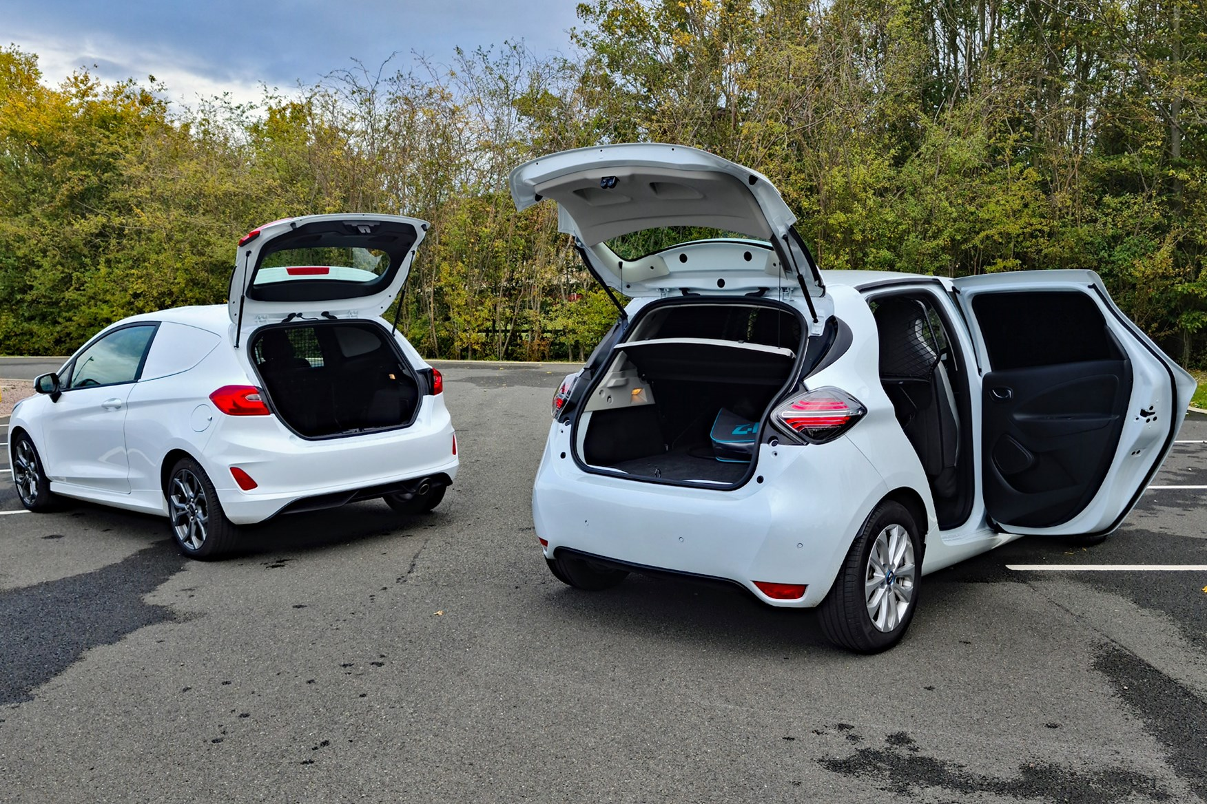 Renault Zoe Van review, 2020, with Ford Fiesta Van, rear view, tailgates and doors open