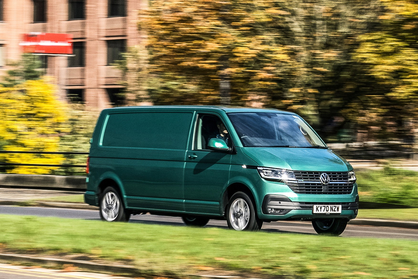 Volkswagen e-Transporter electric van review, 2020, front view, driving, green