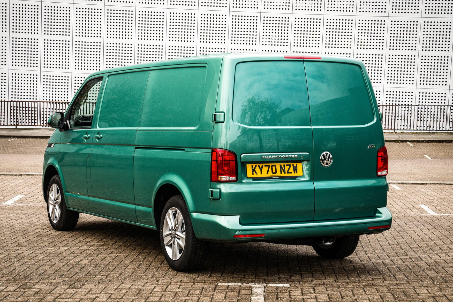 Volkswagen e-Transporter electric van review, 2020, rear view, green