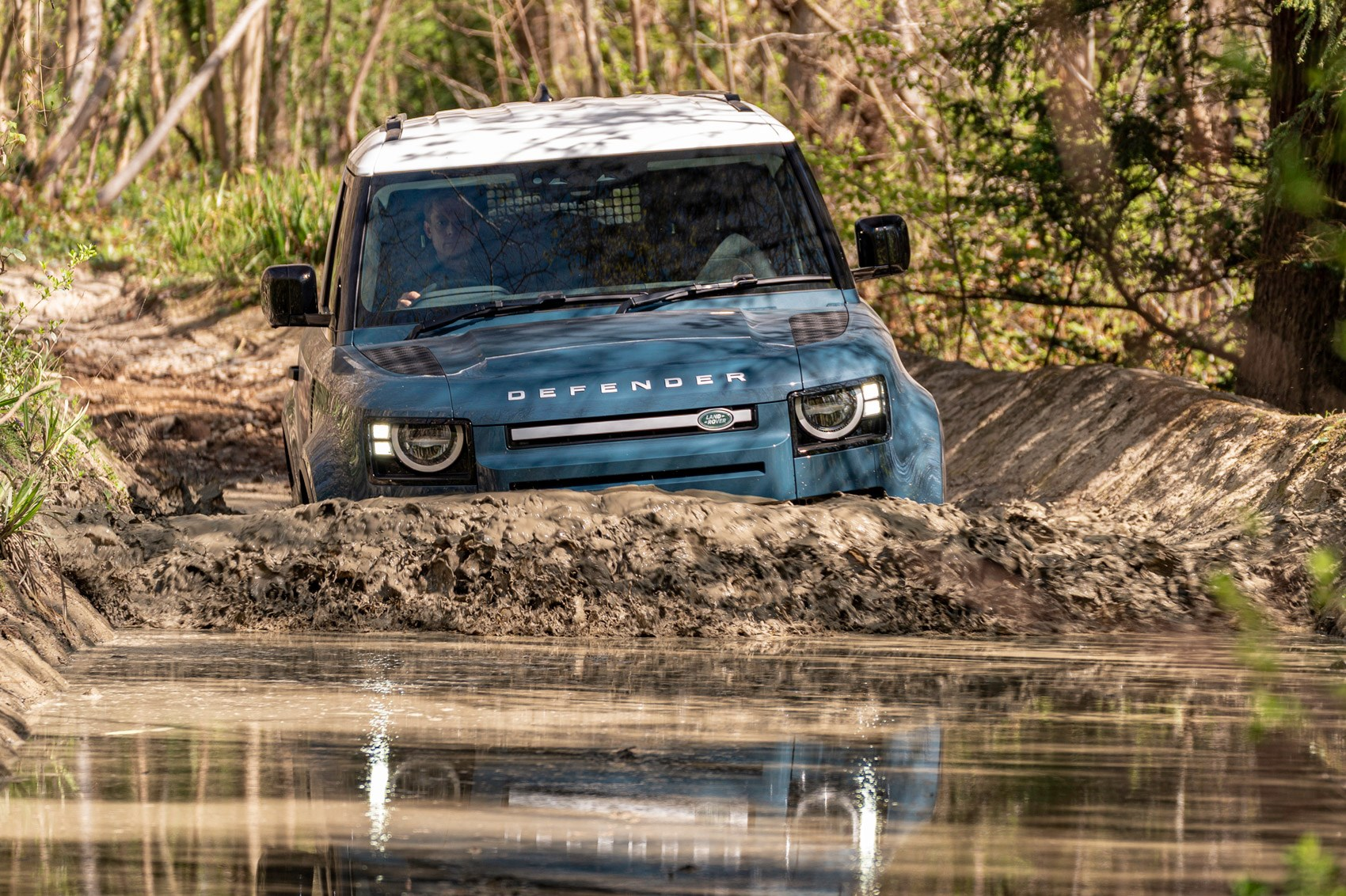 Land Rover Defender Hard Top review - commercial 4x4 - 90, wading through deep water