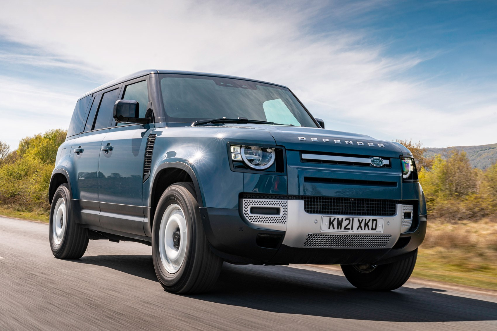 Land Rover Defender Hard Top review - commercial 4x4 - 110, front view, driving