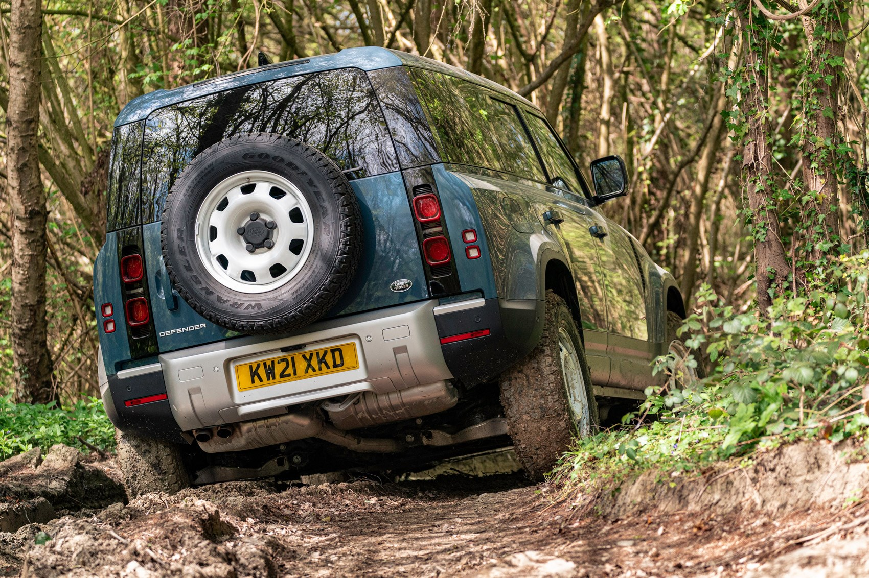 Land Rover Defender Hard Top review - commercial 4x4 - 110, rear view, off-roading